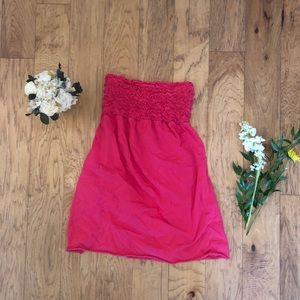 Strapless mini dress with ruffles bodice; large